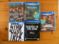 Blurays+DVD,Good condition,like new(the warrior way sealed),4.00 pound each or 17 pounds for the 5.