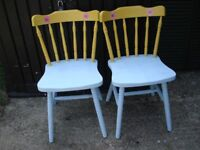 2 x Hand Painted Kitchen Chairs