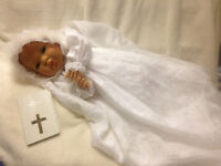 """Reborn baby Christening Doll """" Willow """" With New Testament Bible with Sterling Silver Cross"""