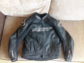 Black RST Tracktech Evo 2 leather jacket and matching leather trousers.