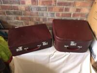 Pair of vintage antler suitcases