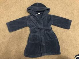 Blue towelling robe, little white company, age 2-3