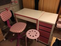 Kids desk, drawers, chair, stool, light (pink and white)