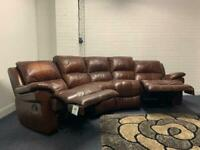 Real leather corner sofa (curved) recliner delivery 🚚 sofa suite couch