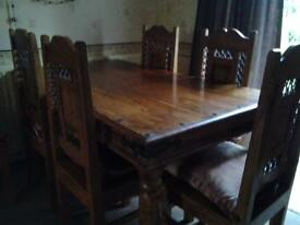 JALI- WOODEN DINING ROOM TABLE AND 6 CHAIRS