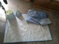 Laura Ashley gingham single quilt rug and lampshades