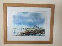 Watercolour print coastal scene