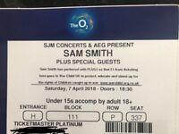 2x Sam smith platinum tickets