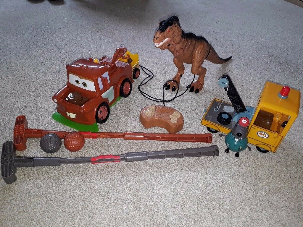 Toy Bundle - Peppa Pig Grandad Dog Pick Up Truck and Disney Cars Mater Truck Golf Game (NO dinosaur)