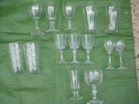Selection of 14 Cut Glass and Plain Glass Drinks Glasses for £6.00