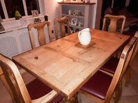Rustic Style Solid Pine Dining Table & 6 Chairs