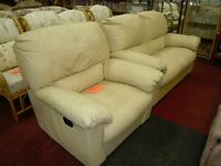 cream leather 3 seater sofa with matching armchair .