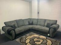 Sold pending Grey & Black gorgeous corner sofa delivery 🚚 sofa suite couch furniture