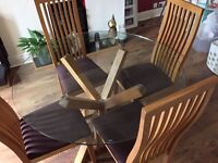 Glass top solid oak round dining table & 4 chairs