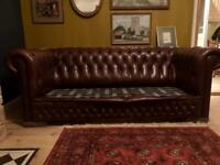 Chesterfield Sofa's - 3 Seater - Red Leather
