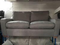 New/Ex Daisplay Dfs Fabric Grey 3 Seater Sofa + Ottoman Footstool