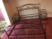 King size metal bed frame and side tables