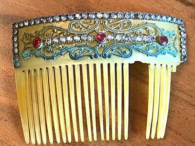 Victorian Wigs, Hair Pieces  | Victorian Hair Jewelry Antique Hair Comb Yellow Celluloid for parts embellished For PARTS $5.99 AT vintagedancer.com