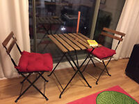 IKEA Tarnö table and chairs with cushion, 1yr. old, barely used!