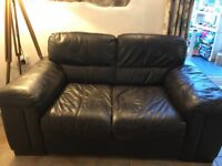 3 & 2 seater dark brown Italian leather sofas
