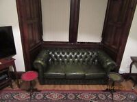 selling this 3 seater green leather chesterfield sofa