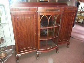 Vintage 3 door display cabinet with Ball and Claw feet