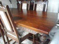 Old Charm 'Tudor' Dining Table and 6 chairs (including 2 carvers)