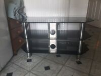 TV STAND { BLACK GLASS } UP TO 50 INCHES SIZE
