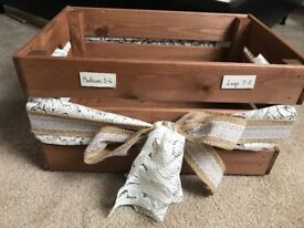 Wooden wood crate with hessian and lace ribbon rustic wedding shabby chic