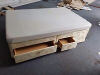 Double bed and mattress with 2 drawers