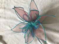wedding fascinator / head peice - turquoise , gorgeous, handmade