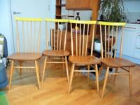 Mid century vintage Ercol 608 spindle back elm dining chairs Danish styling, set of 4, British made