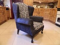 Chanel Grey & Tiger-Print Wingback Chair