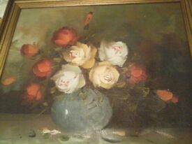 Framed Oil painting of a bunch of roses by Robert Lim