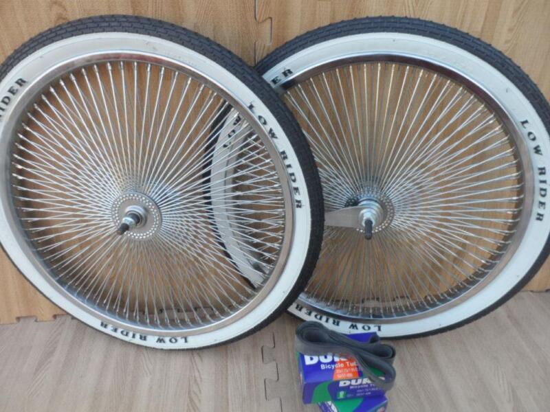 "20"" Lowrider Bicycle Dayton Chrome Wheels & White Walls 140 Spoke Front & Rear"