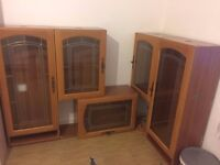 Wall Display Cabinets – Solid Wood with Glass Windows