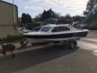 Shetland 535 18ft cabin cruiser with outboards and trailer