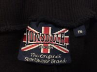 NISEX VINTAGE LONSDALE TRACKSUIT - NAVY WITH RED STRIPES, SIZE 16