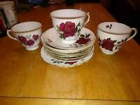 Colclough and Queen Anne China saucers teacups old fashioned antique vintage