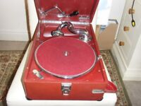 Vintage 1930's 'His Master's Voice' Gramophone 102 in Red - Refurbished (inc.78's)
