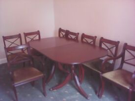 Large dining table and 8 chairs vintage