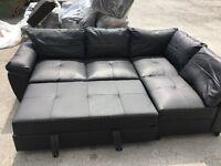 Fernando Leather Right Corner Sofa Bed - Black