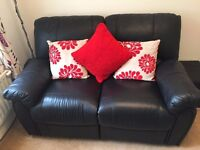 2 Seater Leather Slimline Reclining Sofa - Black - Excellent Condition