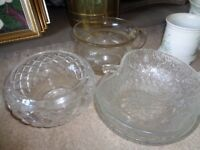 Selection of glass bowls and a Chamber Pot