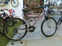 LADIES/OLDER GIRLS FALCON BOLERO BIKE 26 INCH WHEELS 18 SPEED FULL SUSPENSION PINK/SILVER GOOD CON