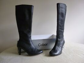 Ladies Gabor Black Leather Boots, size 4.5,