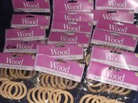 Natural Wood Curtain Rings (x17 packets 102 Total) New