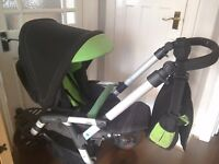 Jane Slalom R Reverse All terrain 3 wheeler pushchair Green Valley unisex pram