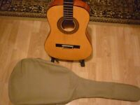 Leraning guitar with case and book