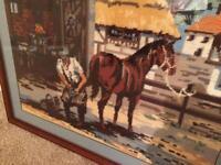 Large framed blacksmith tapestry